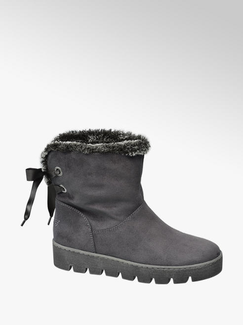 Graceland Grey Ribbon Lace Fur Lined Ankle Boots