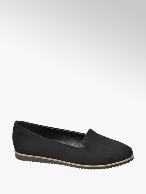 Graceland Black Contrast Sole Slip-on Loafers