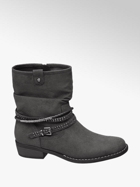 Graceland Grey Stud Detail Ankle Boots
