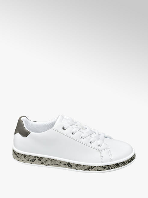 Graceland Snake Sole Detail White Lace Up Trainers