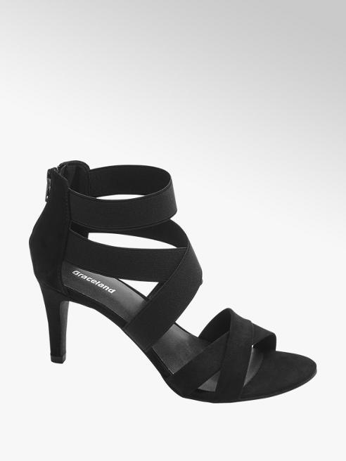 Graceland Black Elasticated Strappy High Heels