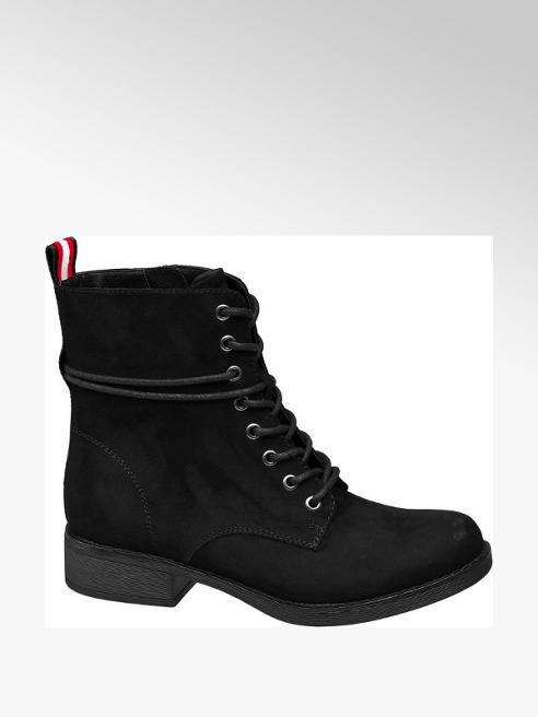 Graceland Black Stripe Lace-up Ankle Boots