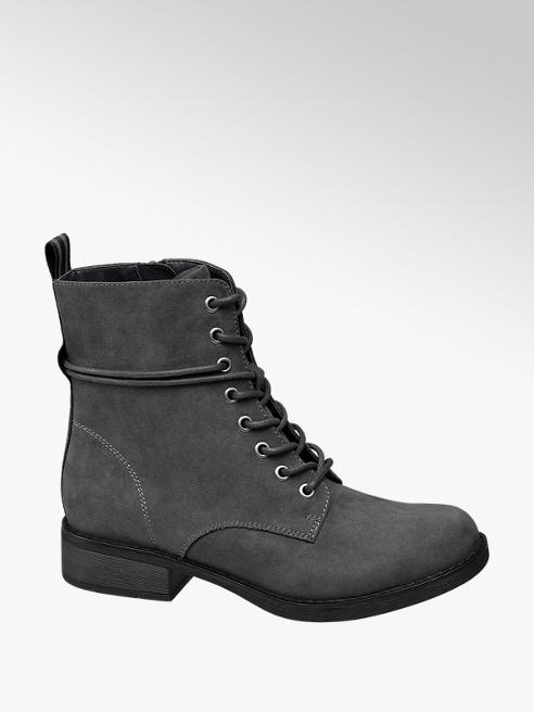 Graceland Grey Stripe Lace-up Ankle Boots