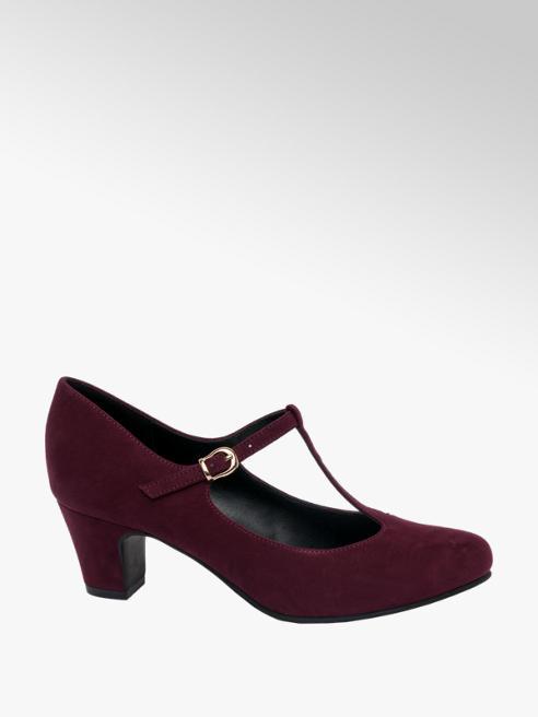 Graceland Burgundy T Bar Heeled Shoes