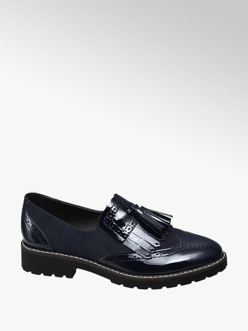 Graceland Navy Blue Patent Tassel Loafers