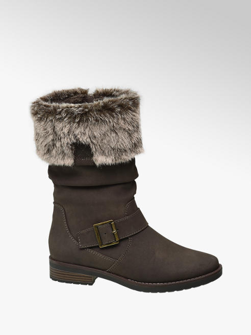 Graceland Teen Girl Taupe Faux Fur Trim Mid Calf Boots