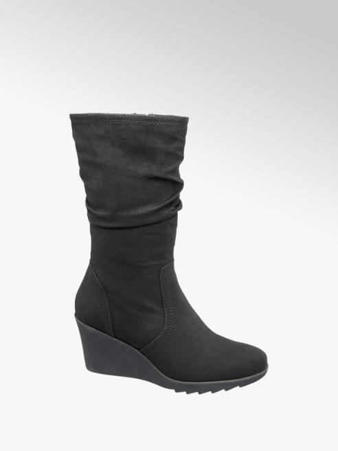 Graceland Black Wedge Heel Boots