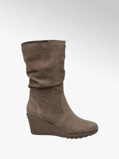 Graceland Brown Wedge Heel Boots