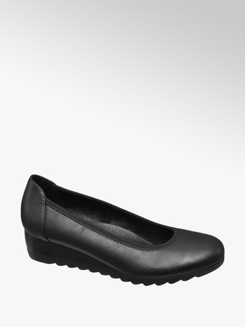 Graceland Black Low Wedge Heel Shoes