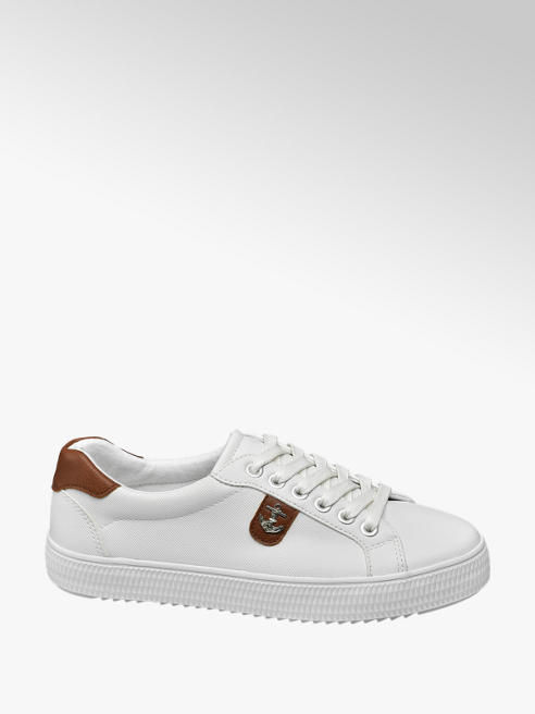 Graceland Ladies White Anchor Badge Lace-up Trainers