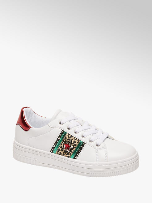 Graceland Ladies White Embellished Trainers