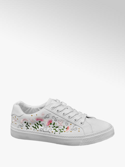 Graceland Ladies White Floral Embroidered Lace-up Trainers