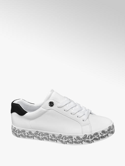 Graceland Ladies White Lace Up Trainer