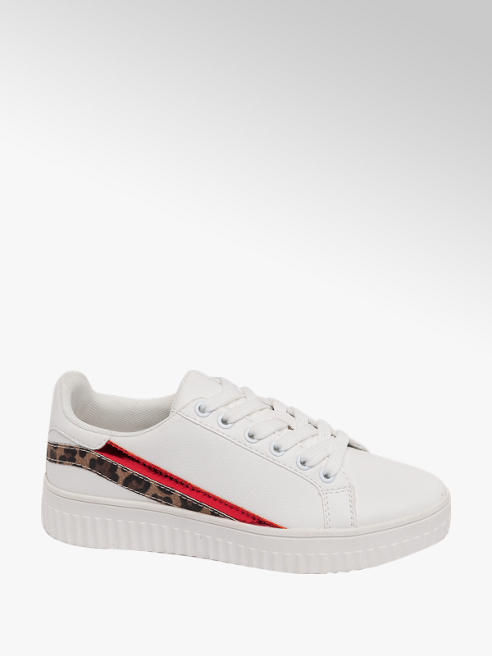 Graceland Ladies White Leopard & Red Two Stripe Trainers