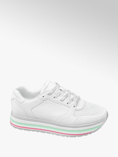 Graceland Ladies White Platform Chunky Lace-up Trainers
