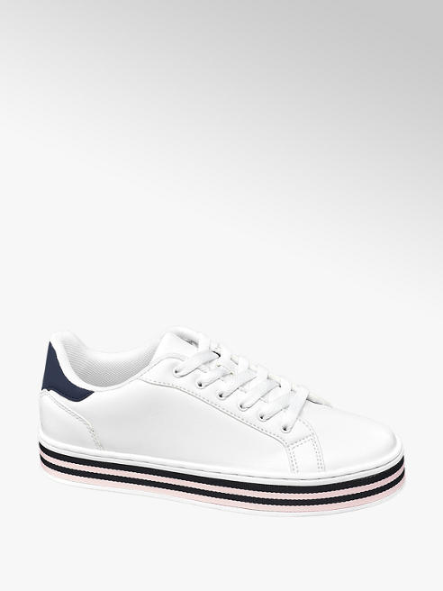 Graceland Ladies White and Stripe Detail Lace Up Trainers