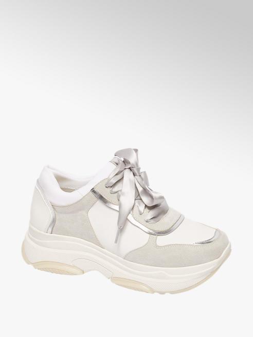 Graceland Lichtgrijze chunky sneaker lint veter