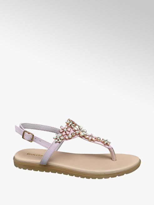 Graceland Lichtroze sandaal siersteentjes