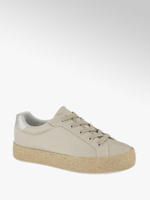 Graceland Metallic Beige Lace Up Espadrille Trainers
