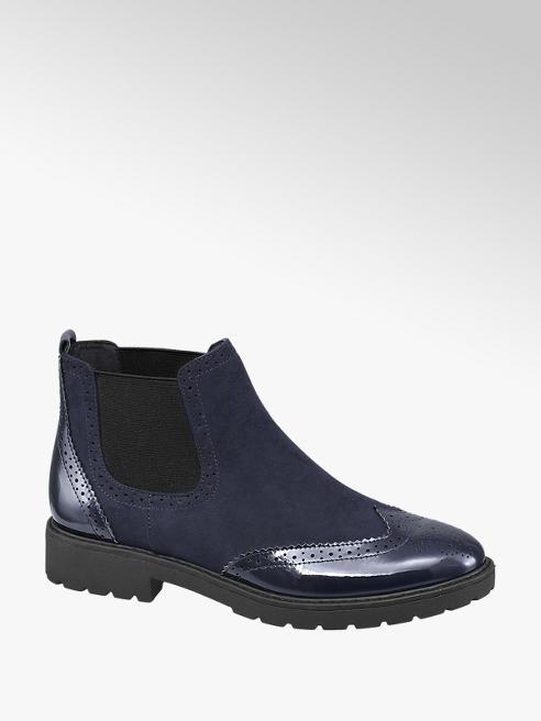 Graceland Navy Patent Chelsea Boots