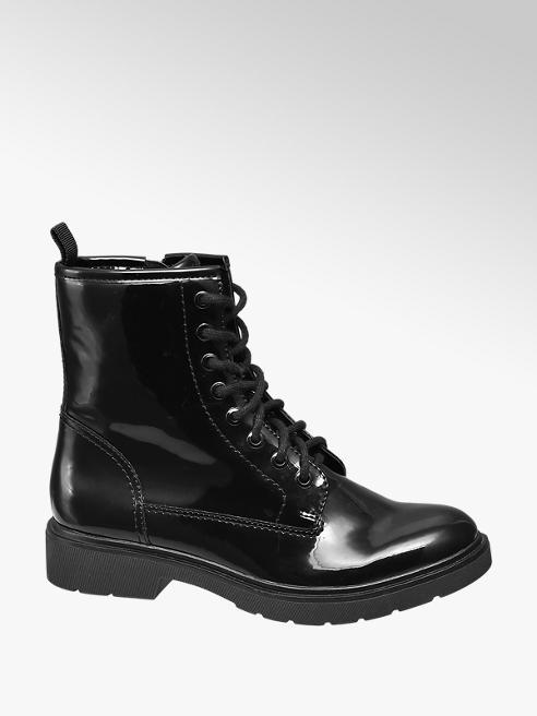 Graceland Black Patent Biker Boots