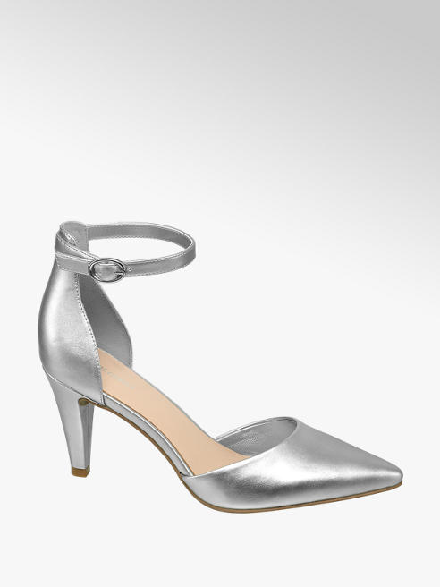 Graceland Pumps in Silber mit Fessel