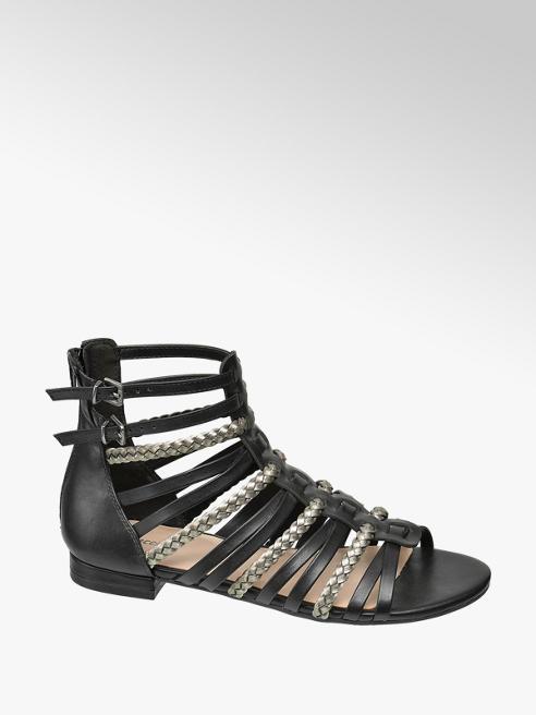 Graceland Riemchen Sandalen in Schwarz mit Metallic-Details