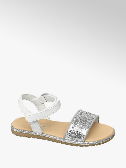Graceland Sandalen in Silber-Weiß mit Pailetten