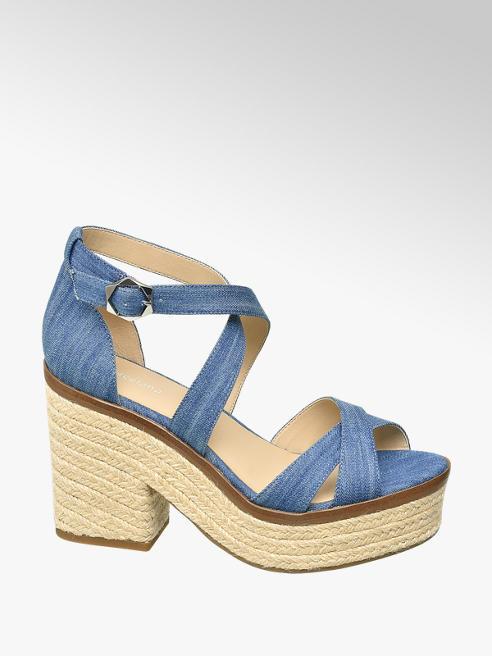 Graceland Sandaletten in Blau mit Bast-Optik