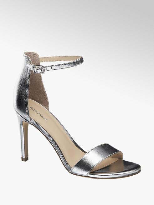 Graceland Sandaletten in Silber mit Fessel