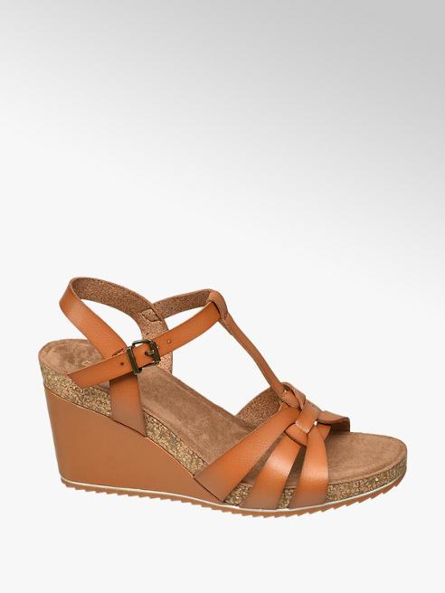 Graceland Sling Sandaletten in Braun mit Keilabsatz