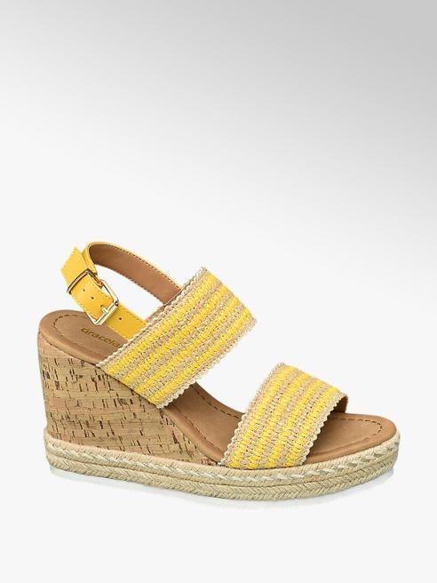 Graceland Sling Sandaletten in Gelb mit Keilabsatz