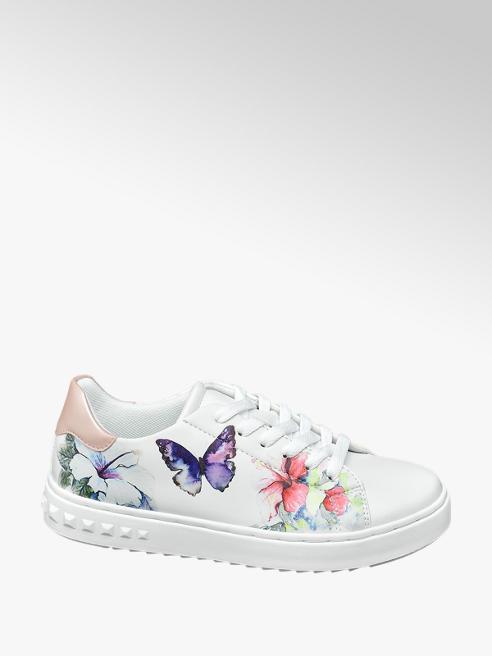 Graceland Sneaker in Weiß mit Blumendetails