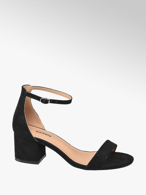 Graceland Teen Girl Black Block Heel Party Shoes (Sizes 4-5)