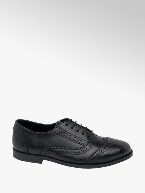 Graceland Teen Girl Black Leather Brogue