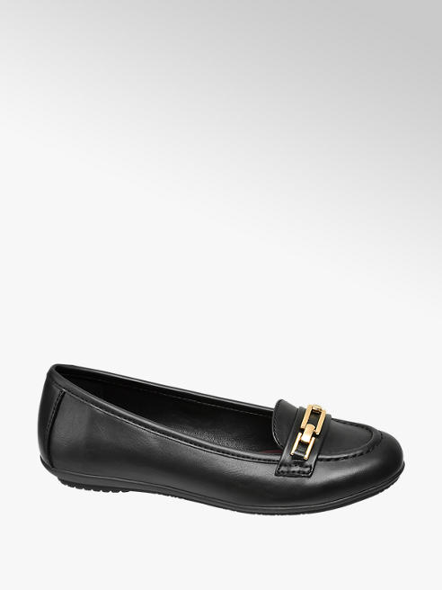 Graceland Teen Girl Black with Gold Trim Detail Loafers