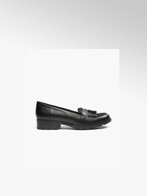 Graceland Teen Girl Black Cleated Tassel Loafers