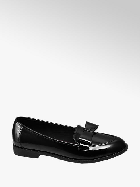 Graceland Teen Girl Black Patent Bow Detail Loafers