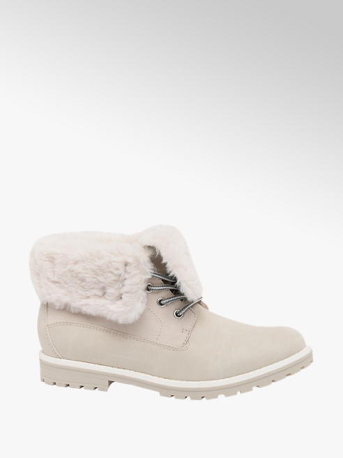 Graceland Teen Girl White Faux Fur Collar Ankle Boots