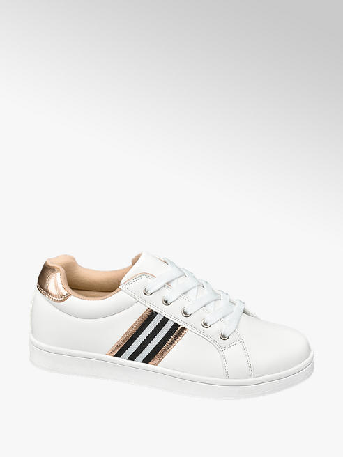 Graceland Teen Girls White Lace Up Stripe Detail Trainers