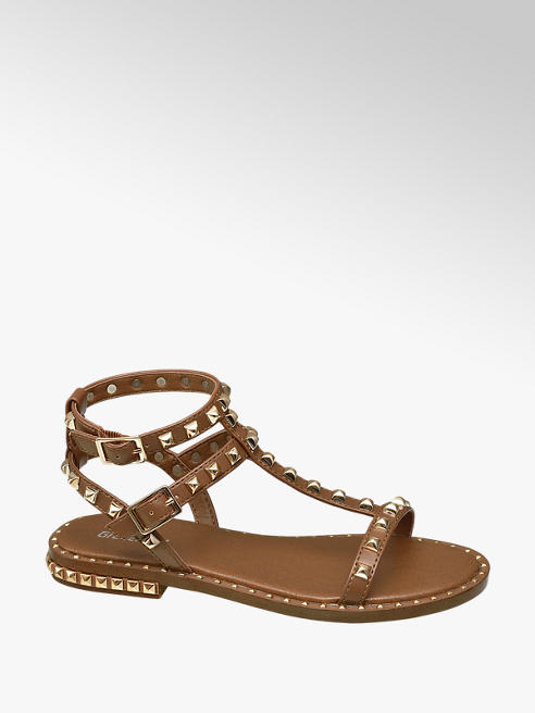 Graceland Teen Girl Tan Studded Gladiator Sandals