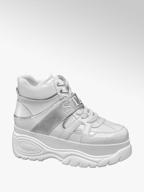 Graceland Witte halfhoge sneaker plateauzool