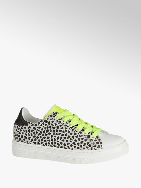 Graceland Witte leren sneaker giraffeprint