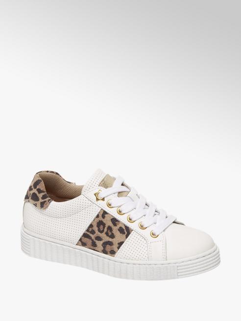 Graceland Witte leren sneaker leopard