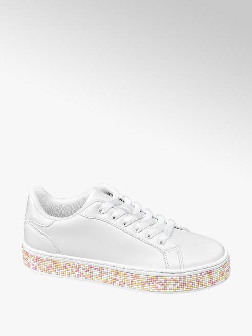 Graceland Witte sneaker gekleurde kraaltjes