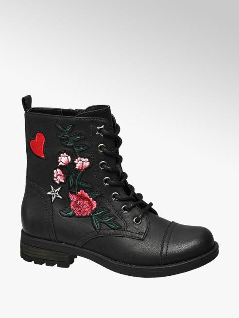 Graceland Zwarte boot bloemen