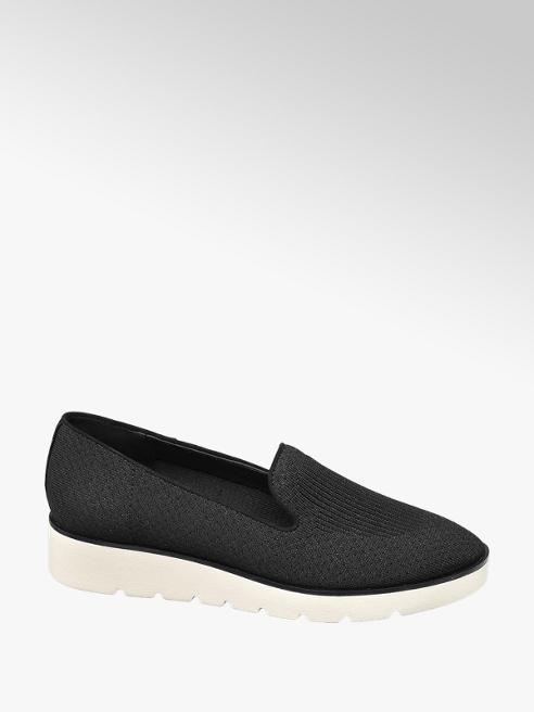 Graceland Zwarte knitted loafer sportieve zool
