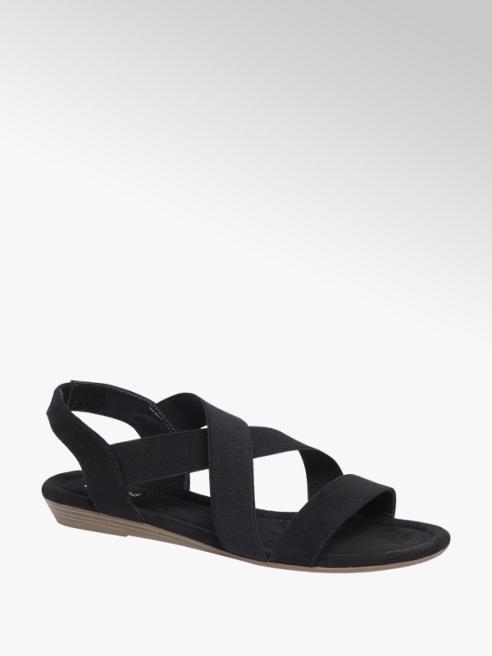 Graceland Zwarte sandaal elasieken