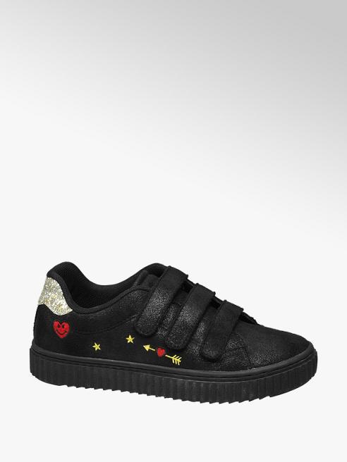 Graceland Zwarte sneaker klittenbandsluiting