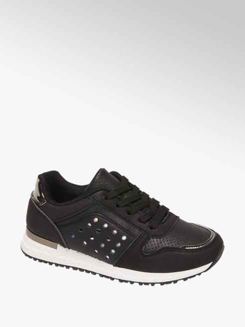 Graceland Zwarte sneaker vetersluiting